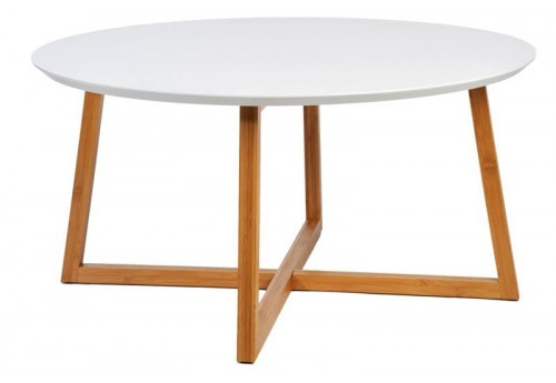 Table Basse Scandinave Ronde En Bois Blanc Et Naturel 80X40Cm J-Line