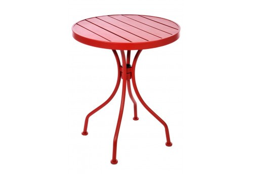table bistrot ronde en m tal rouge 60x60x70cm j line j line by joli. Black Bedroom Furniture Sets. Home Design Ideas