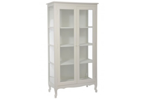 vitrine chic 3 planches en bois blanc et verre95x50x180cm j line j. Black Bedroom Furniture Sets. Home Design Ideas
