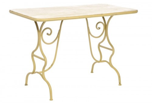 Table Bistrot Rectangulaire Bohème Chic En Fer Forgé 114,5X62X76,5Cm J-Line
