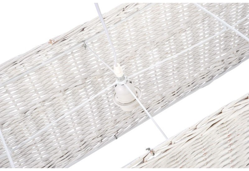 Suspension nature 3 attaches rectangle rotin blanc for Suspension nature