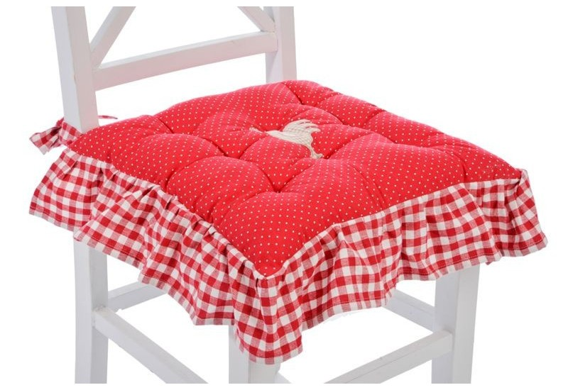 galette de chaise campagne poule rouge uni avec volant vichy rouge. Black Bedroom Furniture Sets. Home Design Ideas