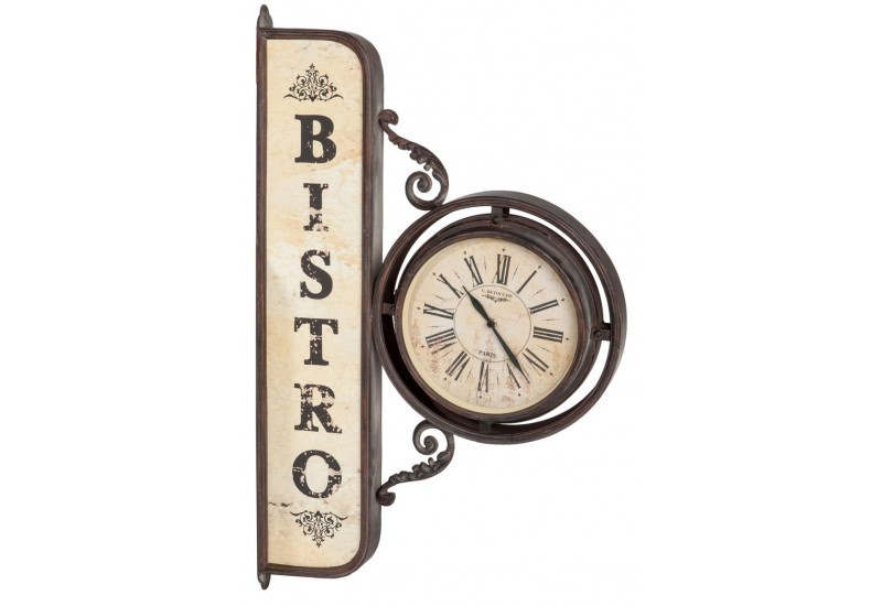 Horloge murale bistro en m tal marron 82x10 5x51cm j line for Decoration murale j line