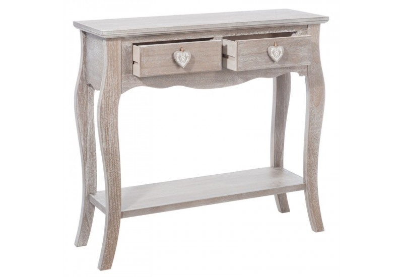 console romantique 2 tiroirs coeur en bois naturel 81x28x77cm j lin. Black Bedroom Furniture Sets. Home Design Ideas