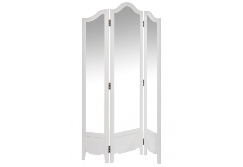 paravent miroir 3 volets en bois blanc 100x2x175cm j line j line by. Black Bedroom Furniture Sets. Home Design Ideas