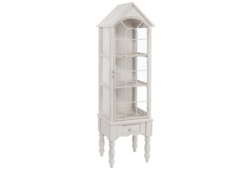 vitrine romantique en bois blanc 42 7x35 5x146 8cm j line j line by. Black Bedroom Furniture Sets. Home Design Ideas