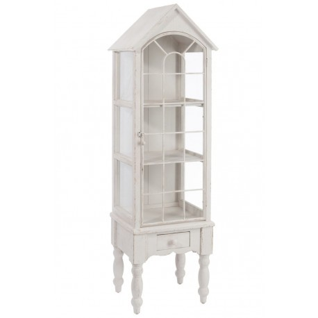 vitrine romantique en bois blanc 42 7x35 5x146 8cm j line. Black Bedroom Furniture Sets. Home Design Ideas