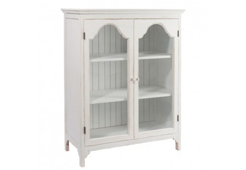 vitrine romantique 2portes verre en bois blanc 90 5x43x117 5cm j li. Black Bedroom Furniture Sets. Home Design Ideas
