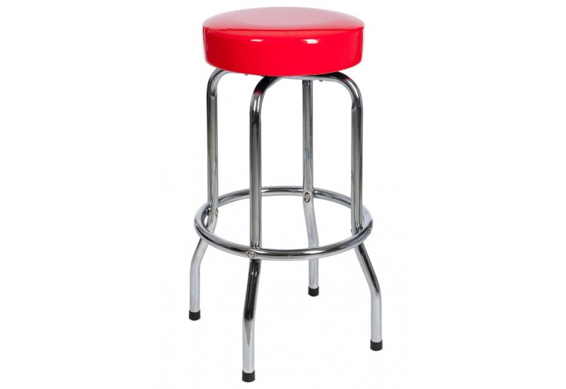 Tabouret de bar rond en m tal et dessus rouge 50x50x74cm j for Table ronde de bar