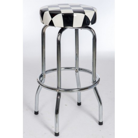 tabouret de bar rond en m tal et dessus noir et blanc 50x50x74cm j. Black Bedroom Furniture Sets. Home Design Ideas