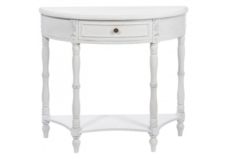 console romantique arrondie en bois antique blanc 87x35x79cm j line. Black Bedroom Furniture Sets. Home Design Ideas
