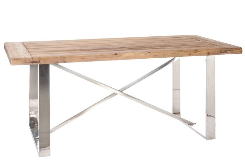 Table manger en bois naturel et pieds chrome 180x90x76cm for Table a manger en bois