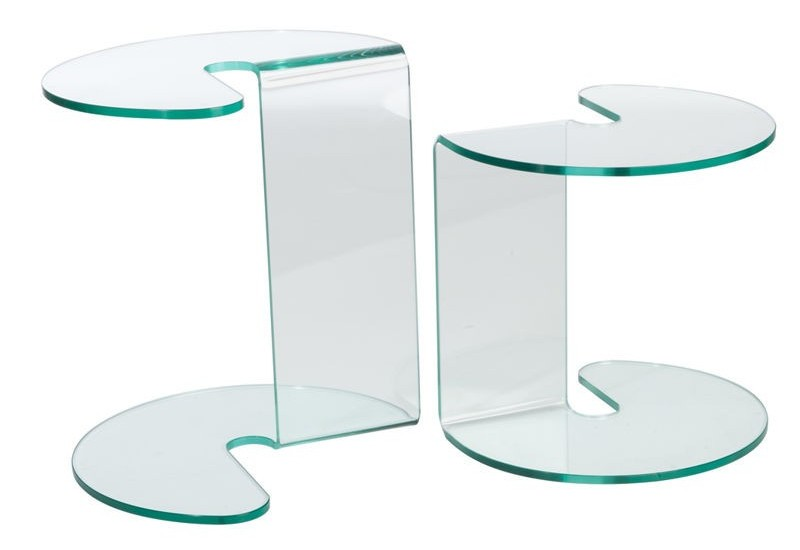set de 2 tables gigognes rondes en verre transparent. Black Bedroom Furniture Sets. Home Design Ideas