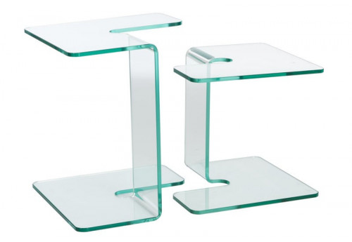 Set De 2 Tables Gigognes Carrées En Verre Transparent 45X45X50Cm J-Line