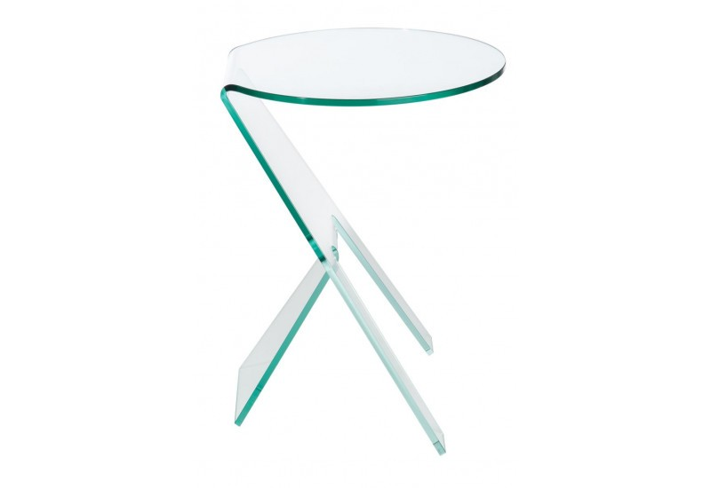 Table gigogne ronde 3 pieds en verre transparent for Table gigogne en verre