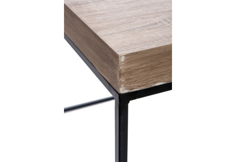 table d 39 appoint r tro carr en bois naturel et pieds m tal noir 80x. Black Bedroom Furniture Sets. Home Design Ideas