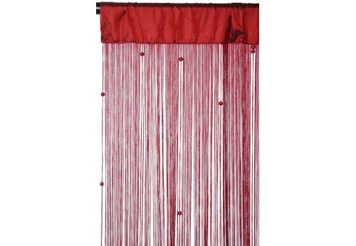 Rideau Filets + Perles Bordeaux 110X250Cm J-Line