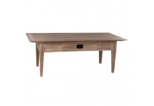 Table Basse Style Coloniale 1 Tiroir En Bois Naturel Mindi By Auxportesdeladeco