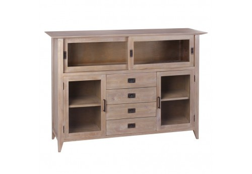 Buffet Style Coloniale 4 Tiroirs En Bois Naturel Mindi By Auxportesdeladeco