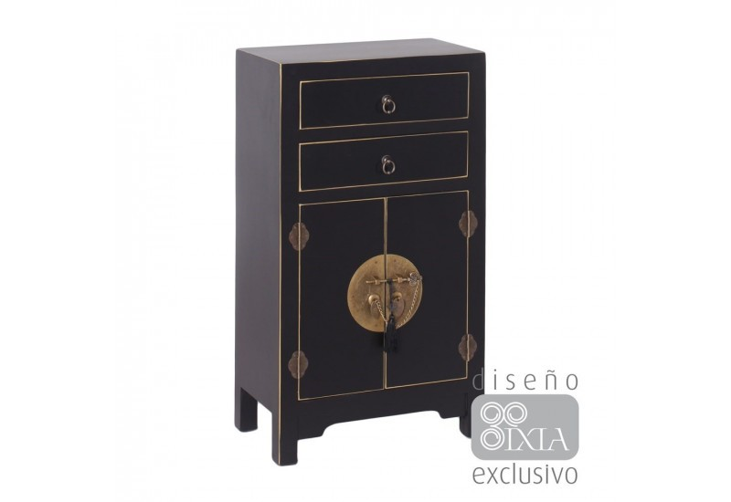 Meuble d 39 appoint chinois en bois noir by auxportesdeladeco for Meuble style chinois