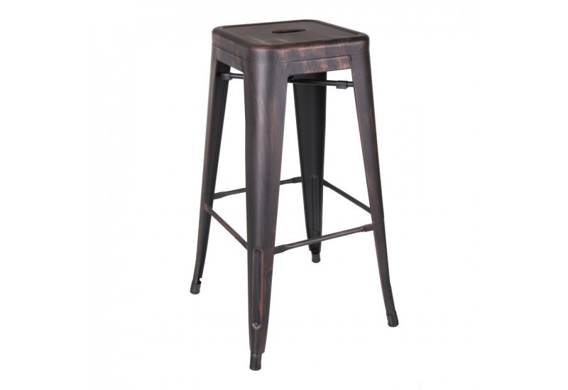 tabouret de bar industriel en m tal noir or dallas by. Black Bedroom Furniture Sets. Home Design Ideas