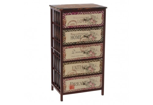 Chiffonnier Campagne 5 Tiroirs Motif Fleurs Multicolore By Auxportesdeladeco