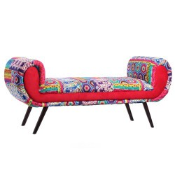 banquette patchwork multicolore 140 x 48 50 x 61 cm. Black Bedroom Furniture Sets. Home Design Ideas