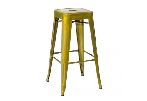 Tabouret De Bar Industriel En Or Dallas By Auxportesdeladeco
