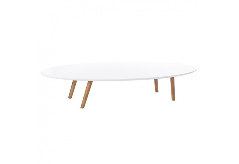 table basse ovale scandinave avec plateau en bois laqu e blanc by a. Black Bedroom Furniture Sets. Home Design Ideas