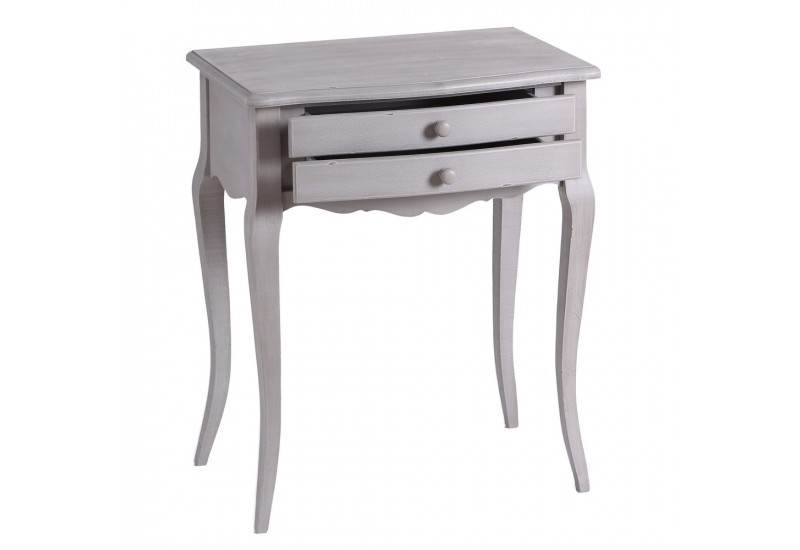 table de chevet romantique en bois patin e gris by. Black Bedroom Furniture Sets. Home Design Ideas