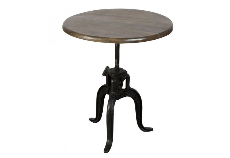 Table ronde bistrot marron antique style campagne vical - Table ronde bistrot ...
