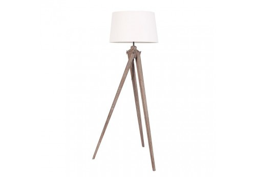 lampe tr pied industriel en bois brut avec abat jour blanc vical ho. Black Bedroom Furniture Sets. Home Design Ideas
