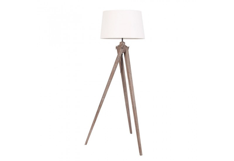lampe tr pied industriel en bois brut avec abat jour blanc. Black Bedroom Furniture Sets. Home Design Ideas