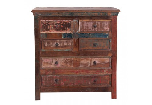 commode bohème chic 6 tiroirs en bois patine multicolore Vical Home