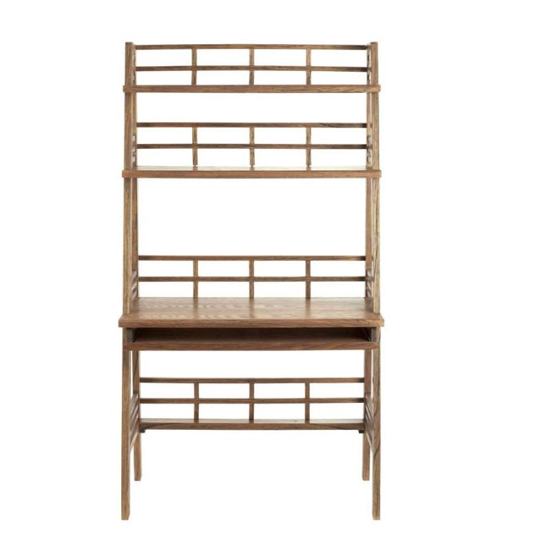 bureau avec 2 tag res et plateau amovible en bois brut naturel vic. Black Bedroom Furniture Sets. Home Design Ideas