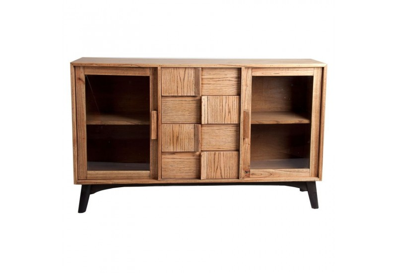 buffet scandinave 2 portes vitr es et 4 tiroirs vein bois. Black Bedroom Furniture Sets. Home Design Ideas