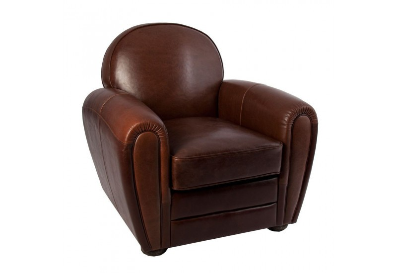 Fauteuil club en cuir marron vical home vical home 17968 - Fauteuils club en cuir ...