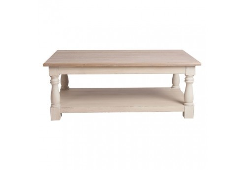 table basse campagne rectangulaire en bois patin blanc et plateau. Black Bedroom Furniture Sets. Home Design Ideas