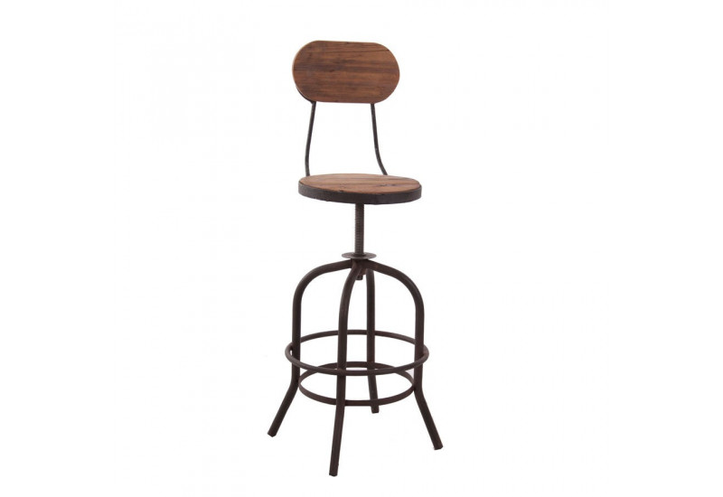 tabouret de bar avec dossier industriel en bois et m tal r glable v. Black Bedroom Furniture Sets. Home Design Ideas