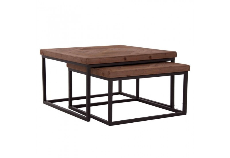 table basse gigogne industriel carr avec plateau en orme massif et. Black Bedroom Furniture Sets. Home Design Ideas
