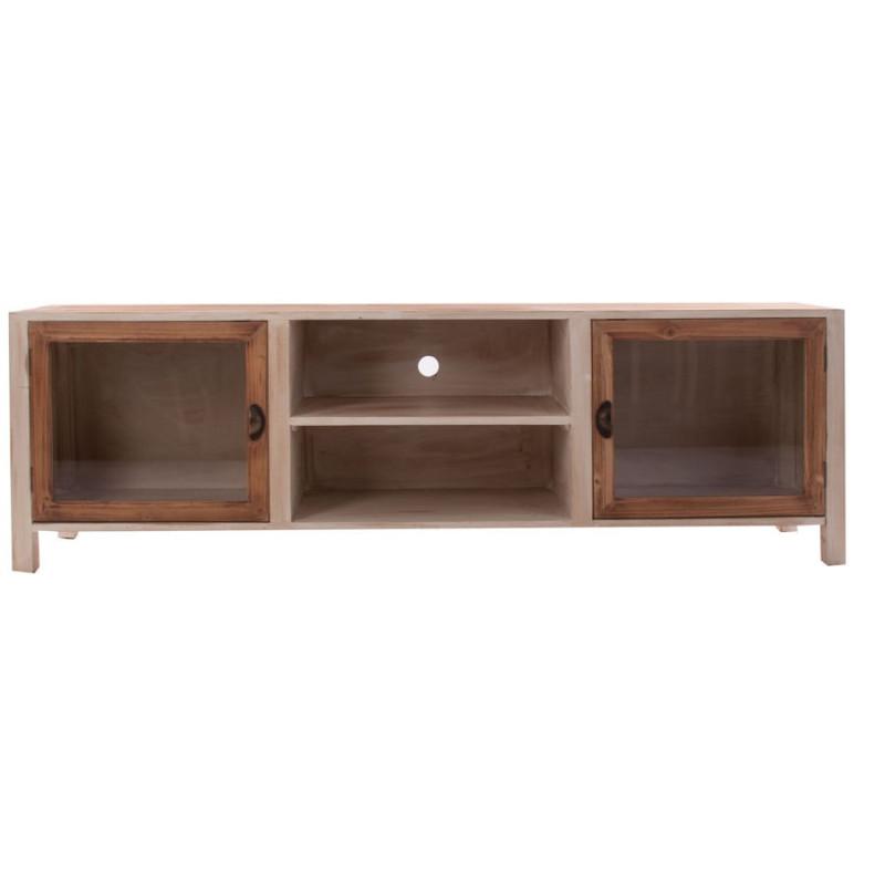 meuble tv en bois patin vieilli cr me et naturel 2 portes vitr es. Black Bedroom Furniture Sets. Home Design Ideas