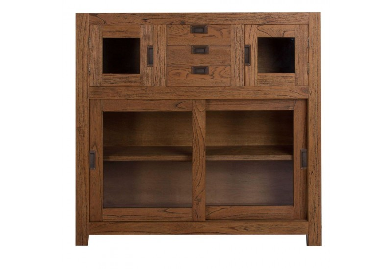 buffet vitrine moderne en bois exotique 2 portes vitr es coulissant. Black Bedroom Furniture Sets. Home Design Ideas