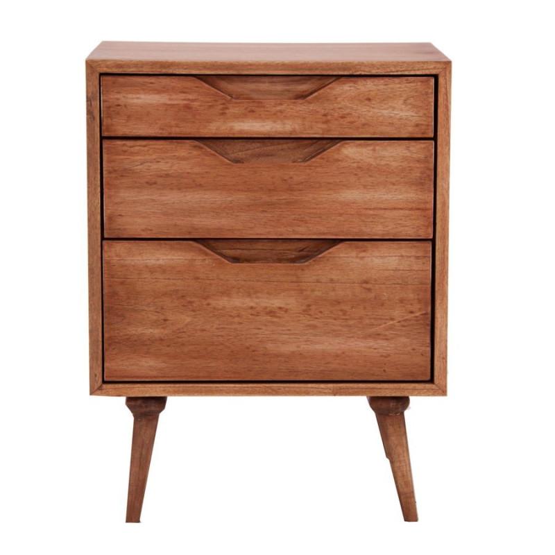 Table de chevet en bois exotique 3 tiroirs style for Mesita noche nordica