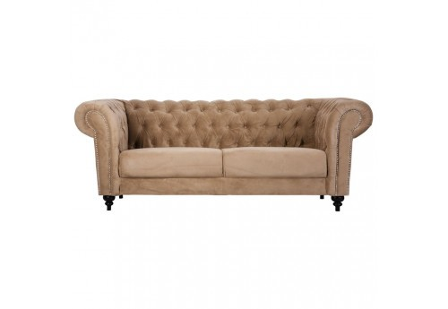 canapé 3 places chesterfield  chic en velours fin couleur or capitonné Vical Home