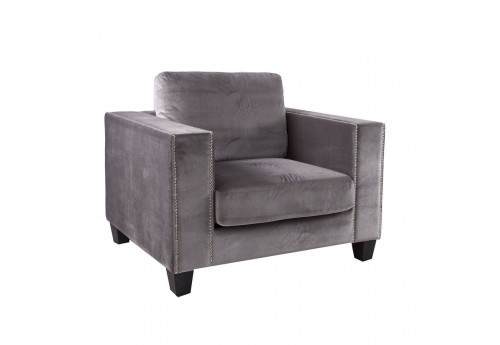 fauteuil 1 place chic en velours fin couleur gris Vical Home