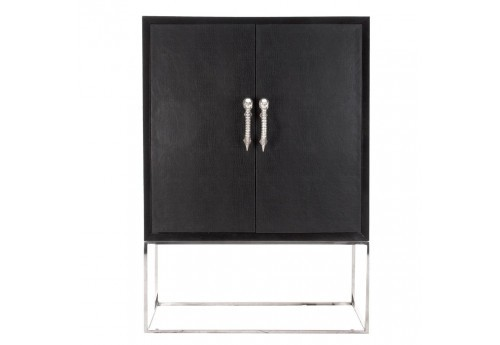 vitrine moderne en bois de manguier vernis noir et poign es t te de. Black Bedroom Furniture Sets. Home Design Ideas