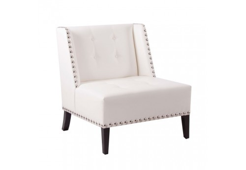 fauteuil 1 place moderne chic en similicuir blanc et gros clous chrome Vical Home