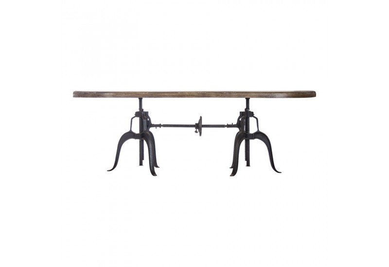 Table manger industrielle originale ovale en m tal et - Table a manger metal et bois ...