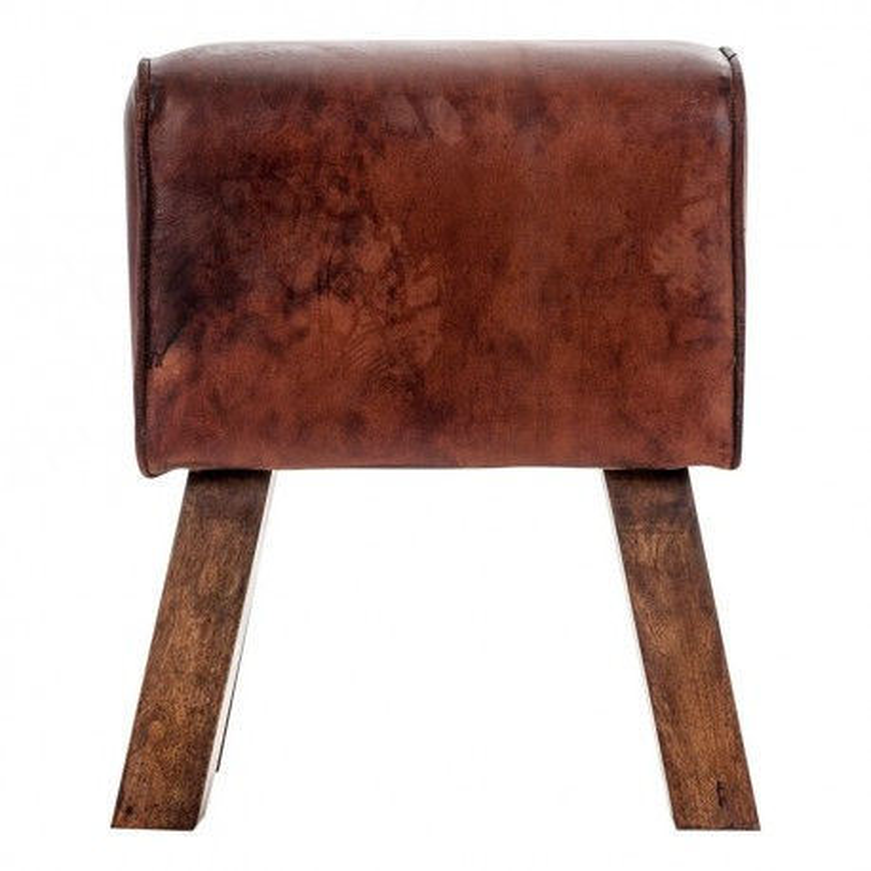 pouf en similicuir industriel marron vical home vical home 18264. Black Bedroom Furniture Sets. Home Design Ideas