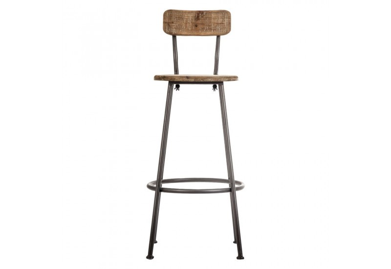 tabouret de bar avec dossier industriel en bois et m tal vical home. Black Bedroom Furniture Sets. Home Design Ideas